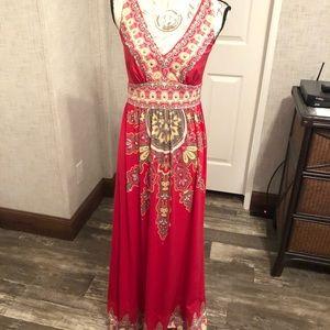Inc pink boho paisley maxi dress like new M
